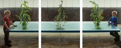 'Continuum', 2013, triptych, each 200 x 160 cm, oil on linen, collection of St. Elisabeth's Hospital, Leipzig, Germany. Photo: David O'Kane.